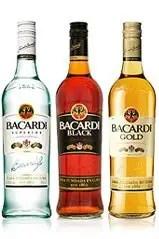 Bacardi Rums: Bacardi White, Bacardi Black (Bacardi Dark Rum), and Bacardi Gold