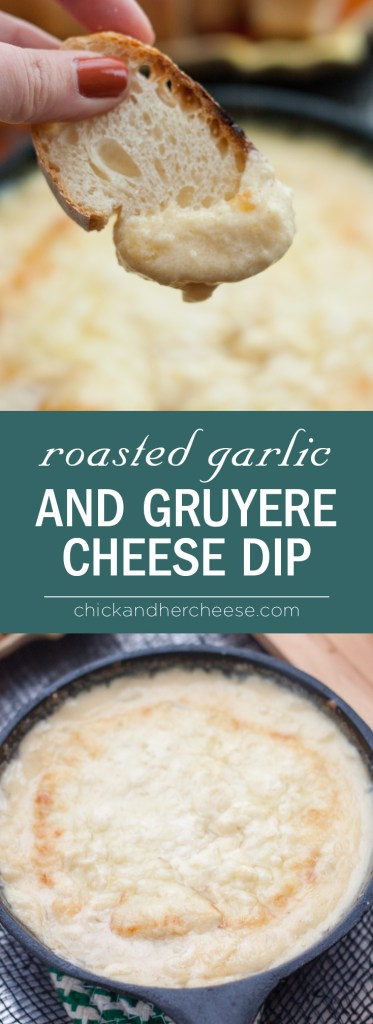 Roasted Garlic and Gruyere Cheese Dip - Super easy, perfect for last minute halloween parties, this tangy and garlicky warm cheese dip is sure to keep the vampires away while also pleasing your guests! I couldn't keep them away. | chickandhercheese.com