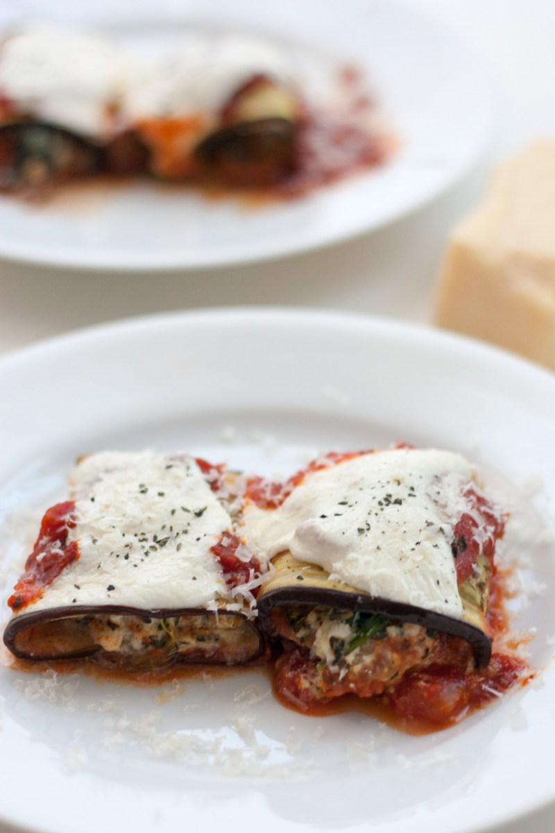 Eggplant Rollatini with sausage and ricotta filling