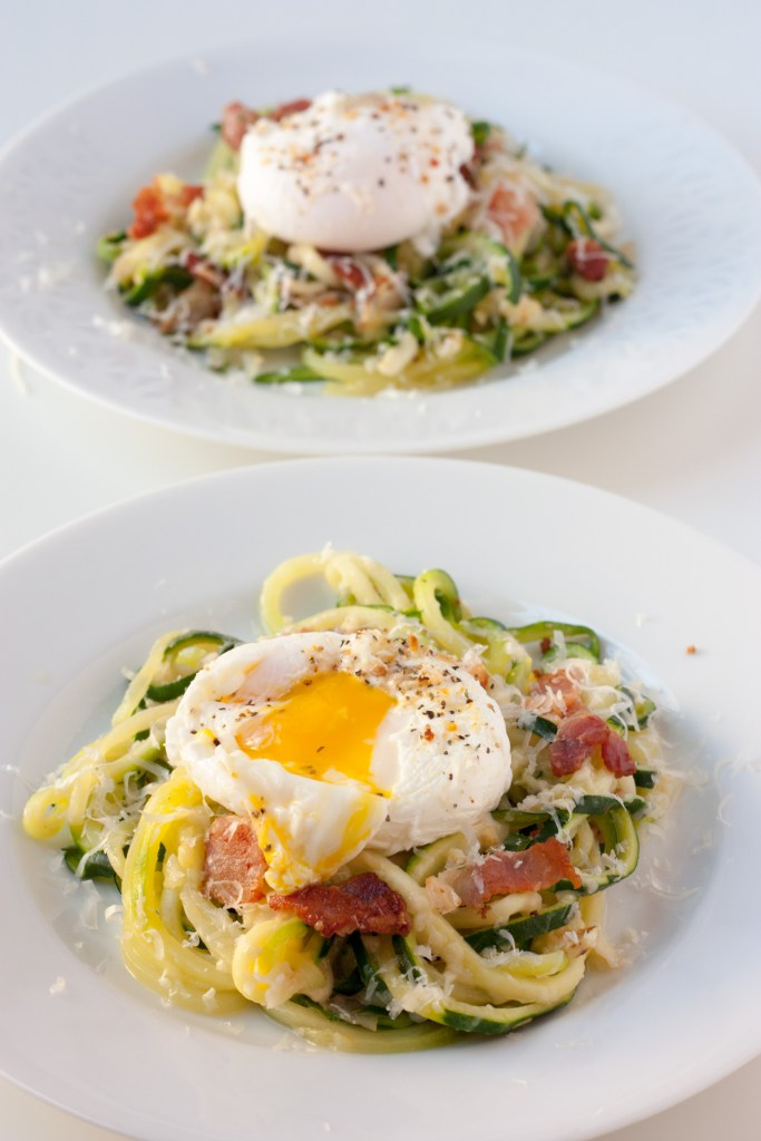 Zucchini Noodles with Poached Eggs and Bacon - Enjoy a faux pasta for breakfast with all the incredible flavor of a bacon, eggs, and cheese with the heathy bonus of veggies. A perfect way to sneak in extra vegetables!