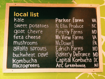 Local list of items at SweetGreen