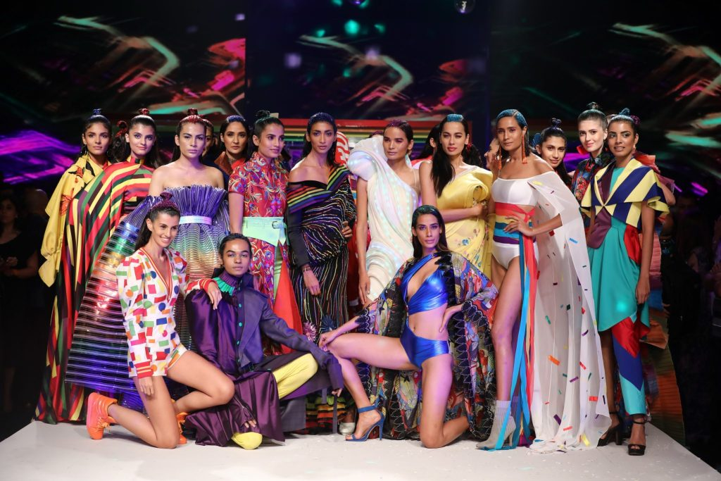 Models showcasing Rainbow collection at LMIFW SS'19
