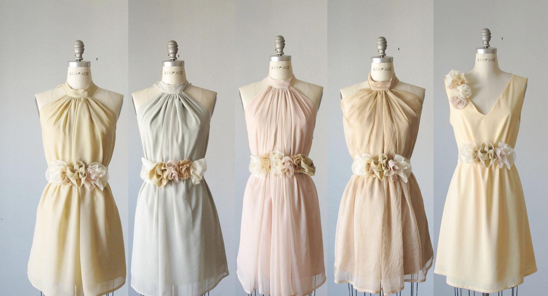 mismatched bridesmaids bridesmaid wedding dresses Mismatched Pastel Bridesmaids Dresses from Etsy