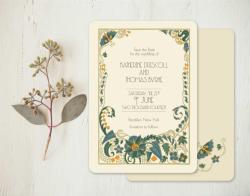Charmful Art Nouveau Wedding Invitation From Go Go Snap Wedding Invitations Gatsby Glamour Vintage Brides Art Deco Style Wedding Invitations Art Deco Wedding Invitations Templates