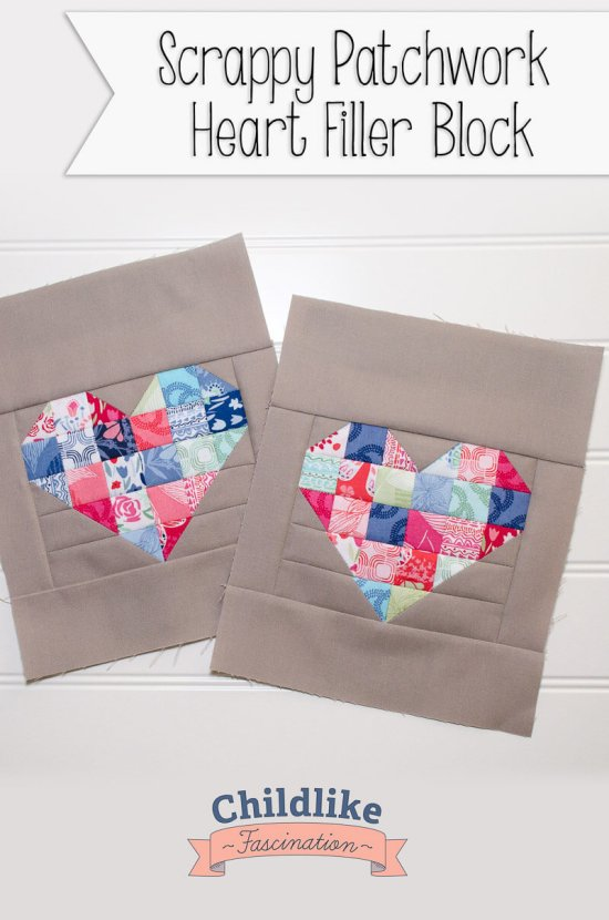 Easy Patchwork Heart Blocks 8 x 10 block!