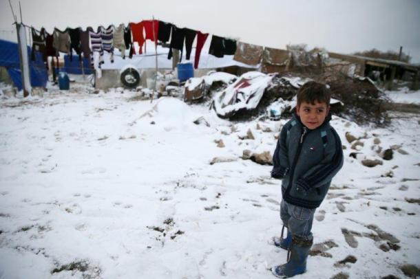 Syrian boy in snow