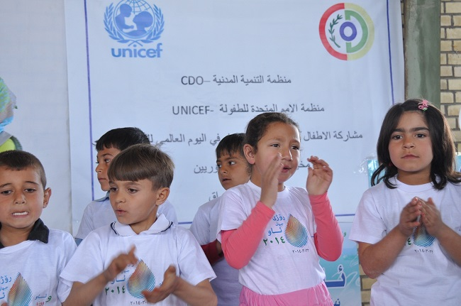 Syrian children at the Arbat refugee camp in northern Iraq took part in a music festival as part of World Water Day.