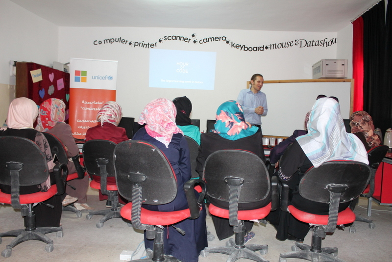 One hour of code - Ayman Afanah Microsot Jordan Technology Evangelist with Makani Centre  women staff in a host community