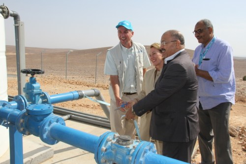 Inauguration of the new water borehole -UNICEF Rep, US Amb Wells, SG of Water Authority of Jordan
