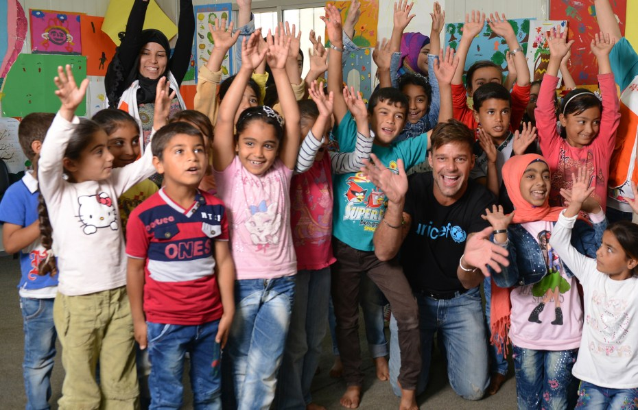 On 1 June 2016, UNICEF goodwill ambassador Ricky Martin with Syrian refugee children at a UNICEF supported safe space for children in Tal Hayat in northern Lebanon.