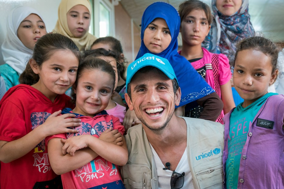 August 21, World famous pianist, Zaid Dirani , Unicef Goodwill Ambassador, visits Zaatari Refugee camp. Jordan.