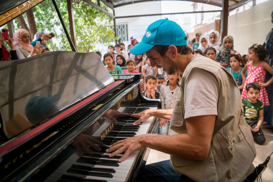 August 21, World famous pianist, Zaid Dirani , Unicef Goodwill Ambassador, visits a childrens Makani center in Mafraq, Jordan.