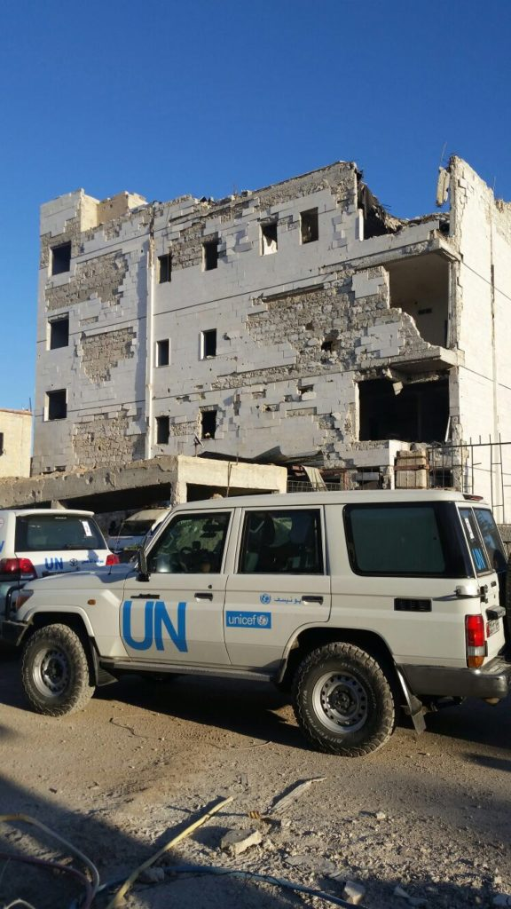 UNICEF/Andreas Knapp. A destroyed hospital where doctors operate in the basement, providing basic health services to children and their families.