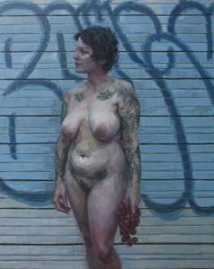 'Lady in front of graffiti' by Jennifer Balkan