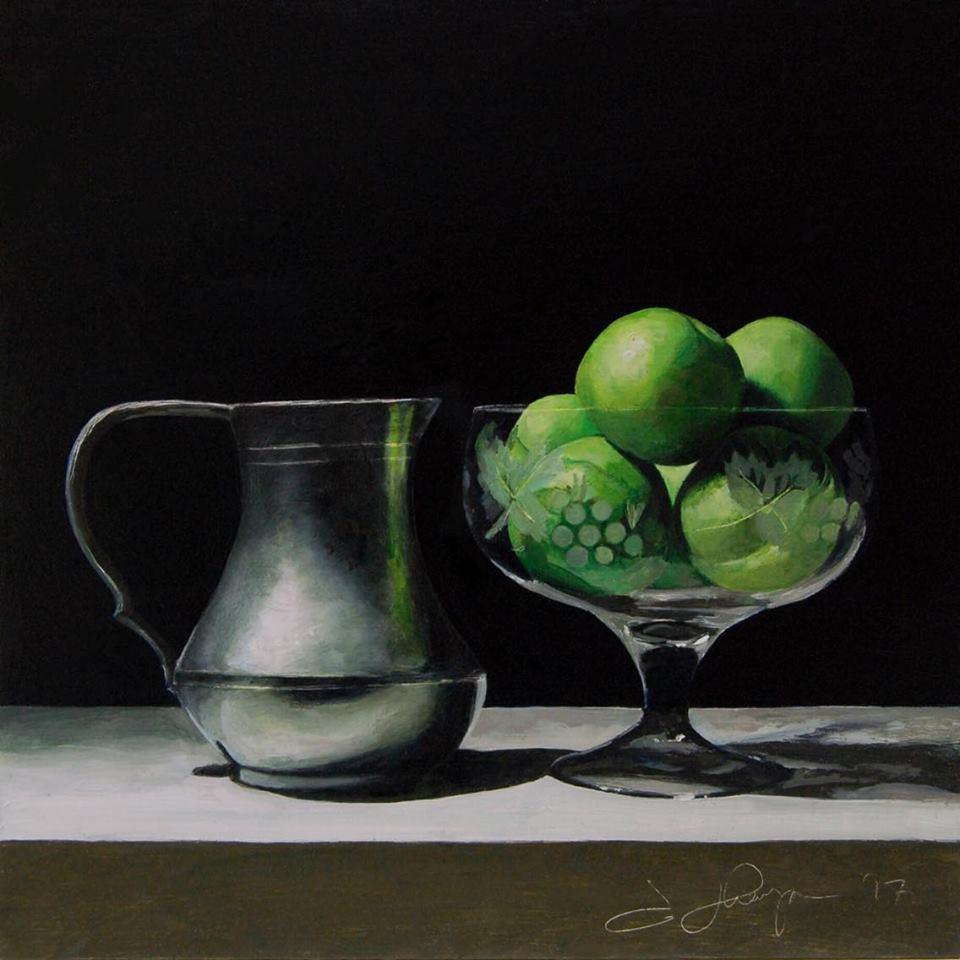 'Pewter jug and Limes' by Andrew Thompson at the chimera Gallery, Mullingar, Co Westmeath, Ireland