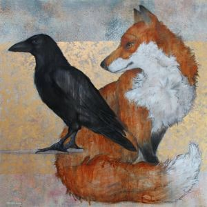 'Fox And Raven' by Sylvia Parkinson Brown at the Chimera Gallery , Mullingar , County Westmeath, Ireland