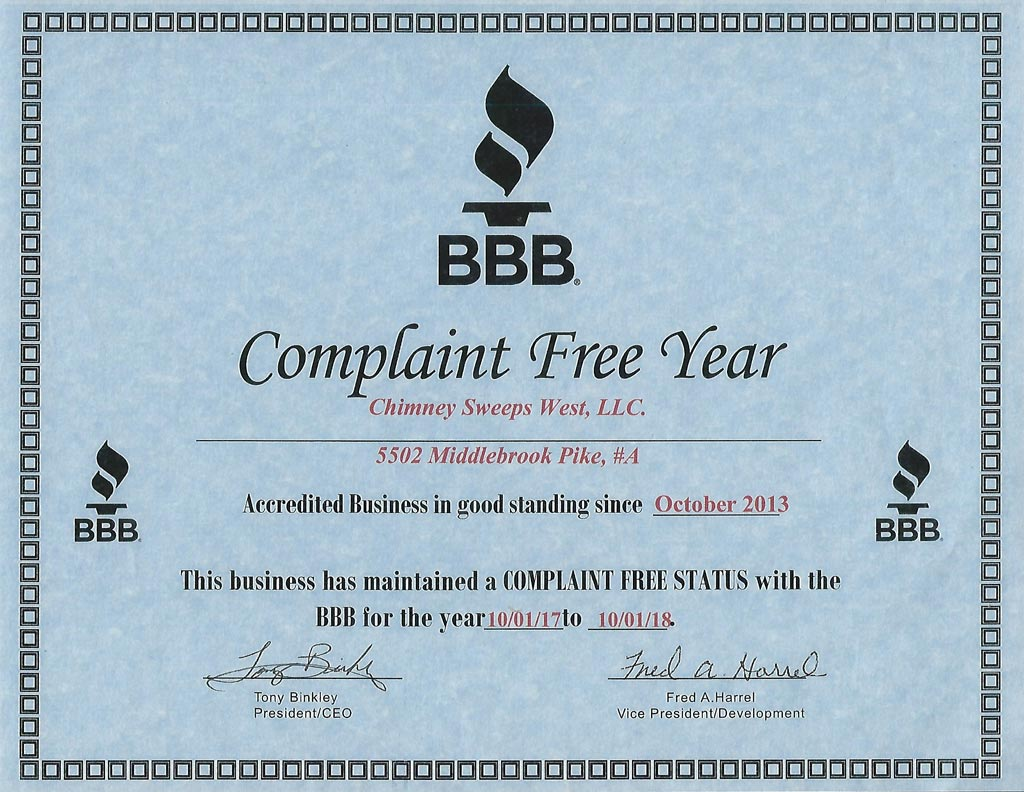 BBB Complaint Free Year 2018