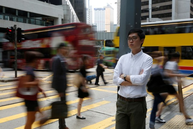 Hong Kong National Party convenor Andy Chan, disqualified by the Hong Kong government to run in the Legislative Council election, poses in Hong Kong, China August 19, 2016. Picture taken August 19, 2016. REUTERS/Bobby Yip