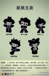 The new five black categories depicted as the 2008 Beijing Olympics mascots.