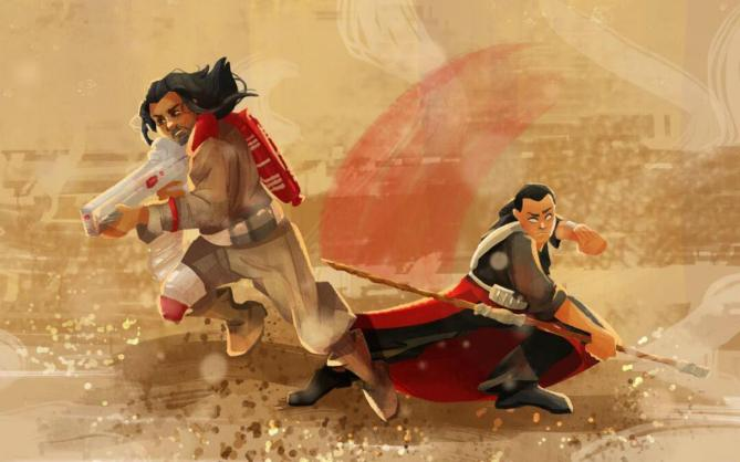 A fan's illustration of Baze Malbus (Jiang Wen) and Chirrut Îmwe (Donnie Yen). (Courtesy Star Wars Official Weibo)
