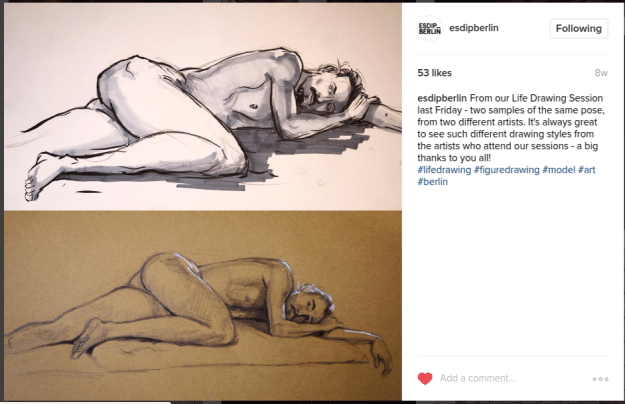 From ESDIP Berlin Instagram Life drawing January 2017