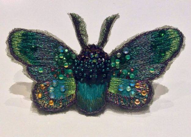 Embroidered jewelled bug by Suzanne Forbes June 2017