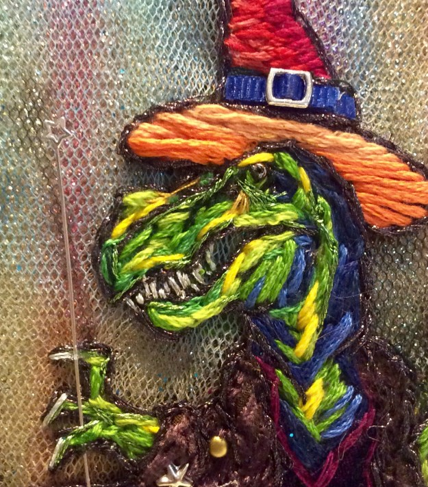 Queer dinowitch embroidery by Suzanne Forbes July 2017 teeth
