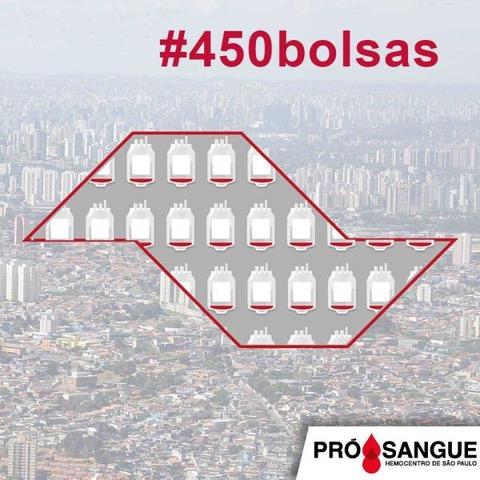 Pró-Sangue lança a campanha #450Bolsas