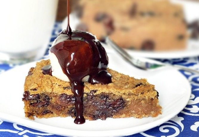 The secretly healthy recipe – with over 1,600 positive reader reviews. Everyone loves this pie! If you've never tried the recipe, it is highly recommended. Full recipe: http://chocolatecoveredkatie.com/2011/05/31/deep-dish-cookie-pie/