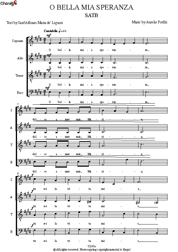 Preview O BELLA MIA SPERANZA SATB_Porfiri
