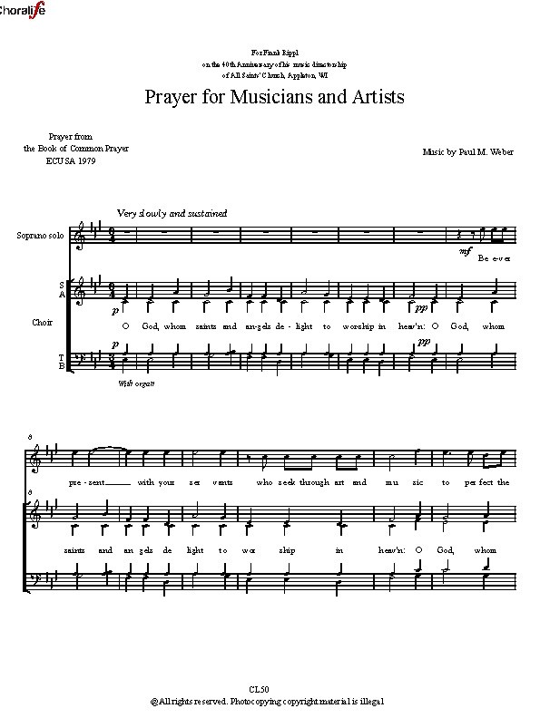 Preview Prayer for Musicians and Artists_Weber