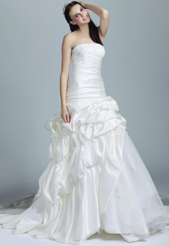 beautiful wedding dresses different wedding dresses Gorgeous A line Princess Strapless Floor Length Chiffon Taffeta Wedding Dresses With Ruffle
