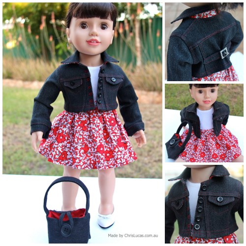 Australian Girl Doll Denim Jacket Skirt Top and Handbag