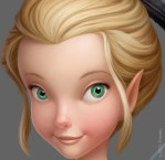 Extreme close-up of an early visual development painting of Glimmer by Chris Oatley from Disney's 'Pixie Hollow Games'