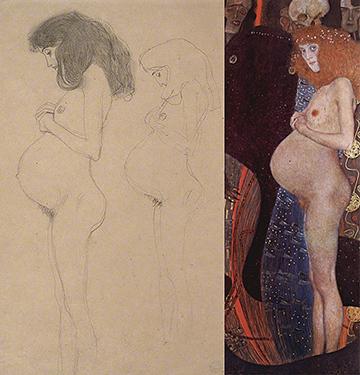 'Hope 1' [figure studies and final painting] by Gustav Klimt.