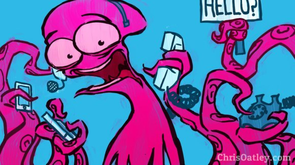 Illustration by Chris Oatley: A crazed octopus uses multiple phones at once.