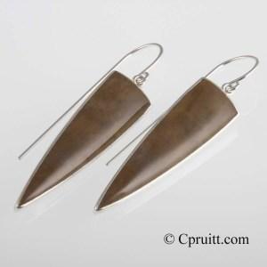 Petrified Wood Earring Drops