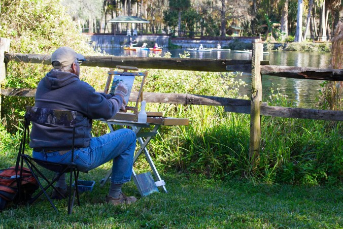Artist do their best to capture the beautiful day on the banks of the Silver Spring River. Photos taken on December 11, 2016 at Silver Springs State Park, By Chrissy Clary.