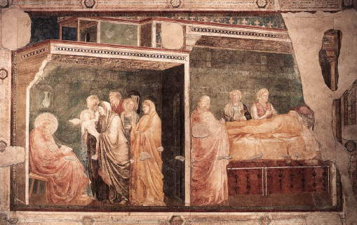 Giotto, Birth and Naming of John the Baptist