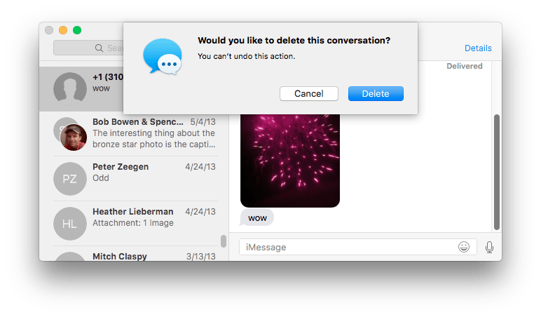 how to delete messages off a mac