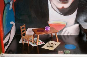 Photo of original painted mixed media work Your Bartender #1 by Christie Mellor