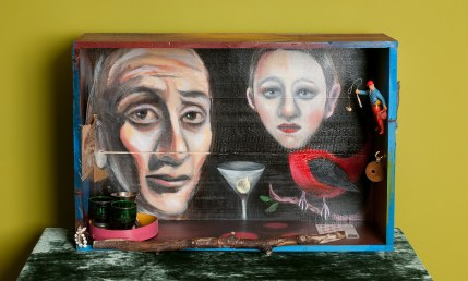 Photo of original painted mixed media work Your Bartender #6 by Christie Mellor