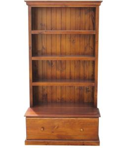 6x3 Deluxe Bookcase w: 1Drawer Stained Walnut