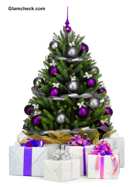 40 Small Christmas Trees   Christmas Celebration   All about Christmas Silver And Purple Decorations  Source