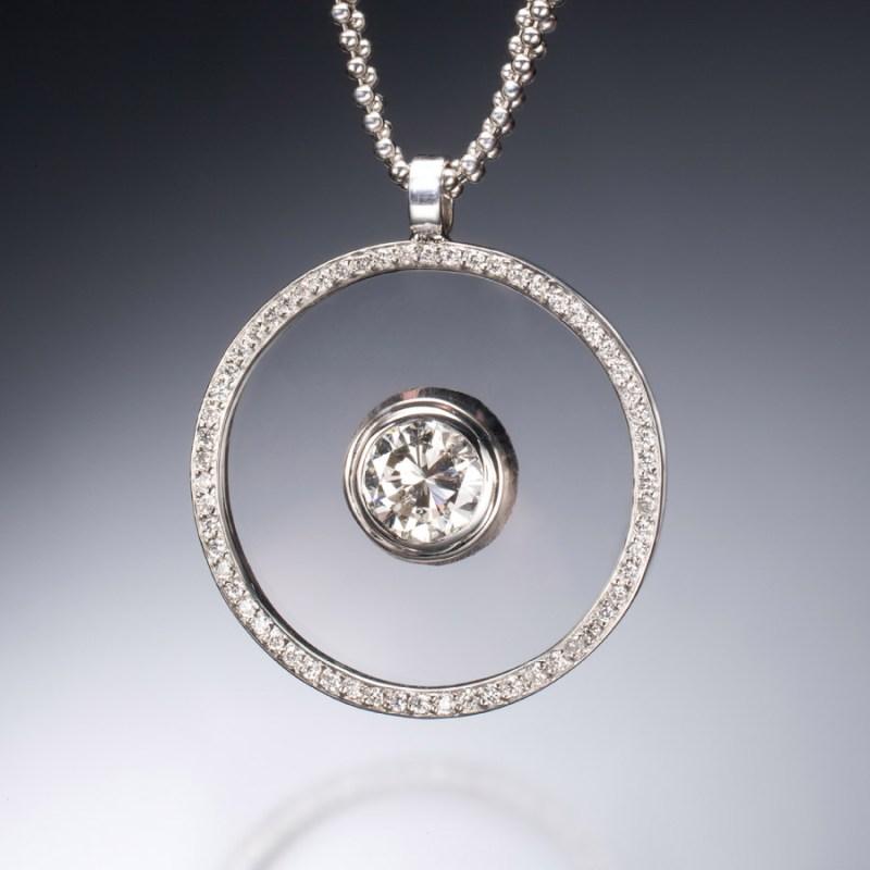 Large Of Floating Diamond Necklace