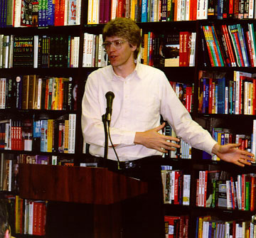 Chris giving his successful songwriting workshop at the Barns & Noble Superstore in center-city Philadelphia. He presented the 5-part lecture series during the summer of 1998, and again at the Langhorne, PA store in 1999. © Lynn Yost