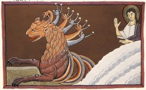 "Photo from the illustrated Bible, ""Bamberg Apocalypse: Book with 7 Seals - The First Beast"""