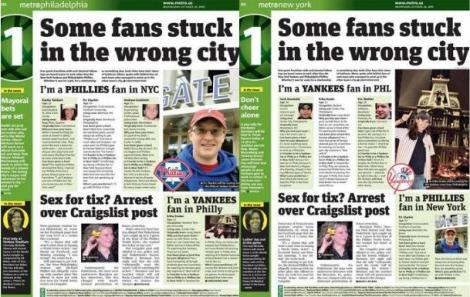 Second page of Philadelphia and New York editions of Metro on Oct. 28, 2009.