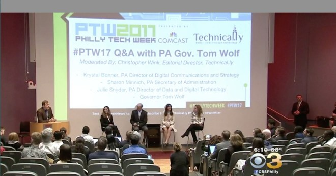 A shot from CBS3 of the Gov. Wolf conversation.