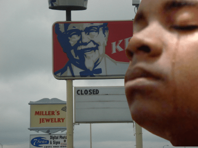 A tribal child from Detroit cries after realizing he will need to drive to Green Bay, WI to eat KFC again